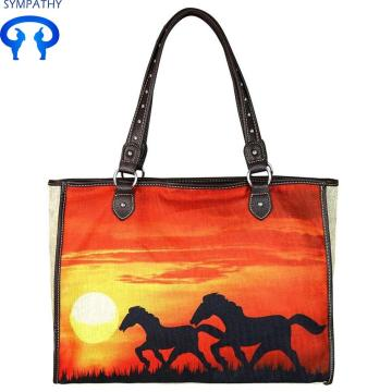 Sunset Painting Canvas Impreso Tote Bag Shopper