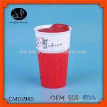 480ml promotion ceramic mug with silicone lid and sleeve,travel mug with logo
