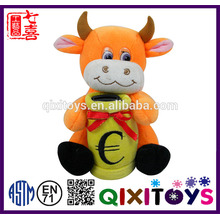Professional customized cow shaped plush piggy bank