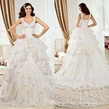 Weißes Spitze-Ballkleid-Spitze-abgestuftes Sequin Catherdral Zug-Hochzeits-Kleid 2012