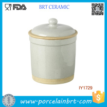 Palegreen en gros avec le pot en céramique de bouteille de cylindre de bord d'or