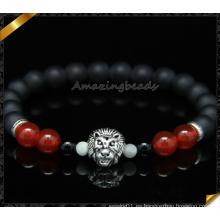 Rojo perlas de piedra de carnelio negro mate ágata perlas pulsera (CB0117)
