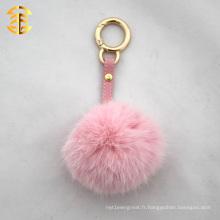 Porte-clés en peau de fourrure en forme de lapin