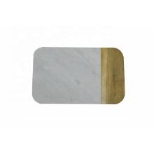 Natürlicher weißer Marmor & Holz kombiniertes Käsebrett