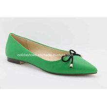Green Comfort Ballerina Women Shoes de couro
