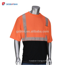 2018 New Design Fashionable High Visibility Orange 2 Tone Safety T-shirts Cool Workwear With 3 M Reflective Tapes Pocket Summer