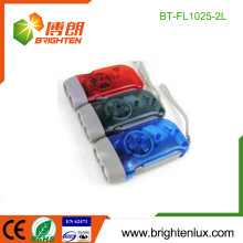 Fabrik Bulk Verkauf AG10 Knopf Zelle verwendet Kunststoff Werbeartikel Günstige Best Hand Cranking 2 LED Dynamo LED Taschenlampe