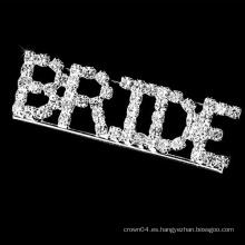 Broche de cristal de la letra de la novia de la manera para la boda