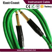 Super Quality Nylon braid 6.35mm Mono Gold guitar instrument cable