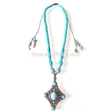 Bohemian Turquoise Beaded Pendant Necklace Jewelry