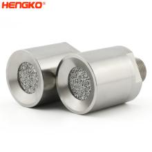 Sintered stainless steel 316L metal porous gas sensor alarm waterproof enclosure + sintered filter disc