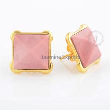 Stylish Pink Opal Gemstone 18k Gold Plated Sterling Silver Stud Earrings