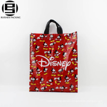 Red carton printing promotional loop handle bag for shopping