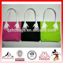 Moda dedo bordado canvas shopping bag versão dupla face impresso sacos de bolsas de praia Ocasional das mulheres tote