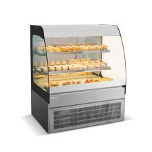 Escaparate de refrigerador de pastel de vidrio curvo de estilo abierto de panadería
