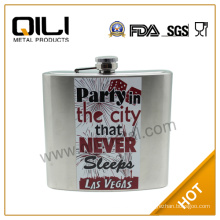 All over water transfer stainless steel wholesale whisky hip flask engraved
