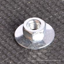 Porca de disco hexagonal revestida de zinco com tipo de arruela plano