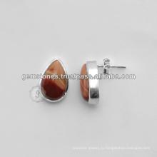 Оптовая Ювелирных Изделий Стерлингового Серебра 925 Серьги Драгоценный Камень Безель Серьги