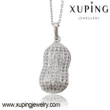 Moda elegante encanto Rhodium CZ cacahuete cadena de joyería de imitación colgante-32613