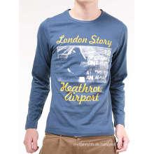 Großhandelskundenspezifische verschiedene Arten des Logo-Baumwollmode-Mann-langen Hülsen-T-Shirts