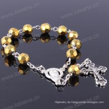 Gold 8mm Abschnitt Kristall Perlen Mode Armband