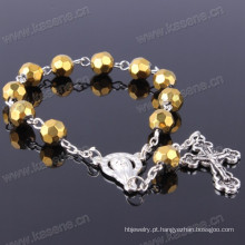Ouro 8 milímetros seção de cristal grânulos moda pulseira