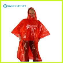Wegwerf-roter erwachsener Notfall-PET-Regen-Poncho