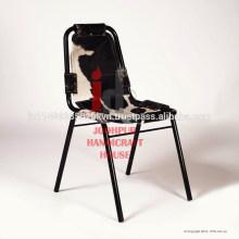 Cuero de cuero industrial y silla de comedor de marco de metal