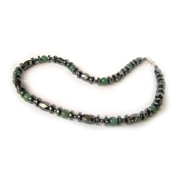 Hematite Gemstone necklace with Green Aventurine +Hematite clasp