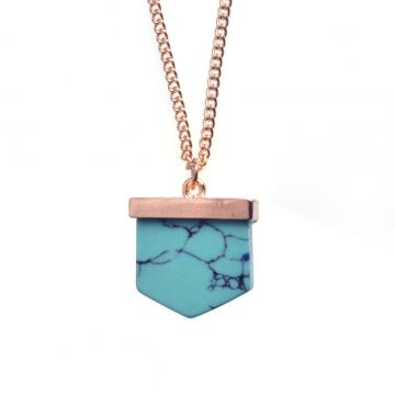 Turquoise Stone Pendant Long Gold Chain Necklace