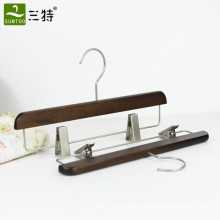 retro wooden pants hanger with metal clips