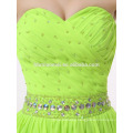 2017 new fashion simple design short green color evening dress with crystal waistband