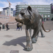 Estátua de tigre grande de bengala de bronze ao ar livre em tamanho natural