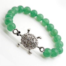 Green Aventurine Gemstone Bracelet with Diamante alloy tortoise Piece