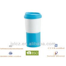 14oz Silikon Deckel und Base weiß Kaffee Becher