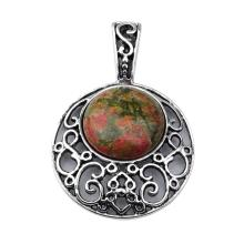 Unakite 20MM Cabochon Alloy Gemstone Pendant