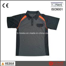 Camisa de Polo de trabalho Mens poliéster elastano laranja