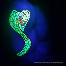 Etiqueta engomada temporal del tatuaje de la fluorescencia del resplandor de la noche de la venta caliente