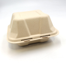 6'' Biodegradable Bagasse Food Container Compostable Sugarcane Lunch Box Pulp Hamburger Box For Packing Hamburger