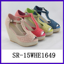 New designer lace upper comfortable wedge platform wedge rubber wedge