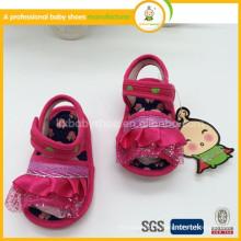 2015 Chaussures pour garçons Fermé Vente Fleur Bordé Hook & Loop Baby Girl Eva Summer Canvas Fashion Baby Girl Princess Shoe