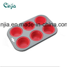 Silicone /Carbon Steel Molds Cake Pops, Silicone Bakeware 6 Cup Muffin Pan