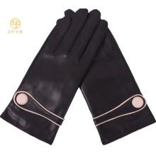 Klassische schwarze Frauen Handschuhe Leder Knöpfe Schaffell Leder Handschuhe für Damen