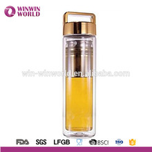 2018 Hot New Products Leakproof BPA Free Loose Leaf Tea & Fruit Infuser Double Insulated Glass Tea Bottle with Tea Strainer