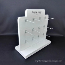 Retail Shop Counter White 2 Sided Acrylic Hook Display Stand for Earphone