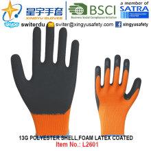 13G poliéster Shell espuma de látex guantes revestidos (L2601) con CE, En388, En420, guantes de trabajo