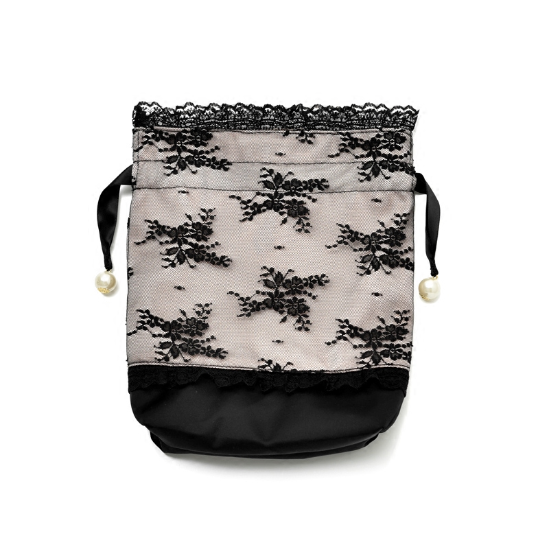 Satin Bag With Lace