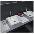 Lavabo de encimera WB005 de superficie sólida, color blanco mate 585x340x120mm