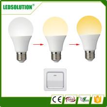 9W CCT ajustável lâmpada LED de três cores de temperatura