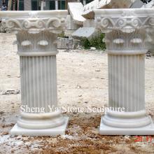 Coluna branca da coluna da escultura da pedra de mármore (SY-C002)